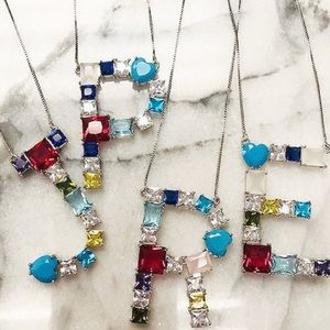 LARGE Multi-Colored Initial Necklaces,NWT